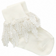 Girls Ivory Guipure  Lace Socks